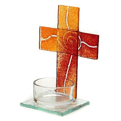 Teelichthalter Kreuz aus Glas orange/rot