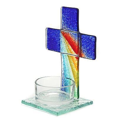 Teelichthalter Kreuz aus Glas Regenbogen/blau