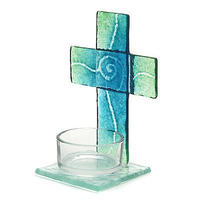 Teelichthalter Kreuz aus Glas türkis/grün