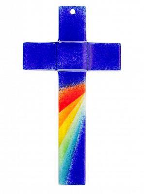 Glaskreuz 'Regenbogen', blau