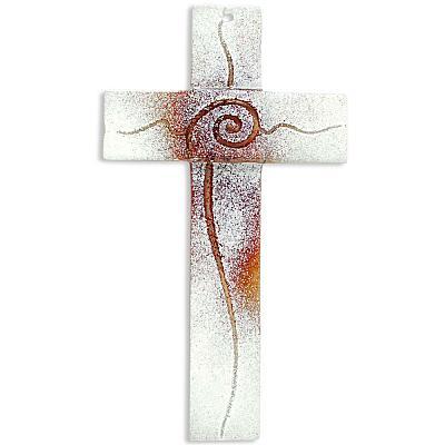 Glaskreuz 'Spirale des Lebens', braun/weiß (Braun/weiß)