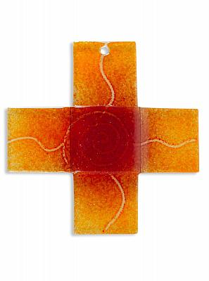 Glaskreuz 'Spirale des Lebens', orange gleichschenklig (Orange/gleichschenklig)