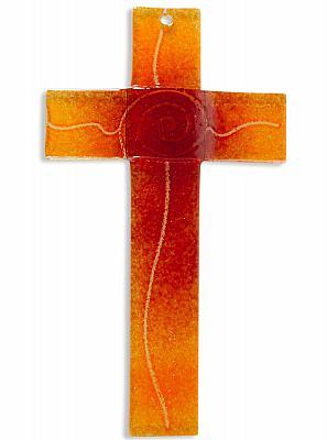 Glaskreuz 'Spirale des Lebens', orange (Orange)