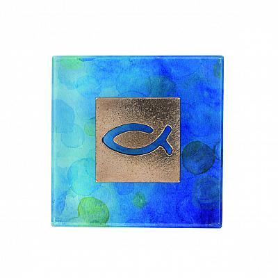 Glasquader mit Fisch aus Bronze