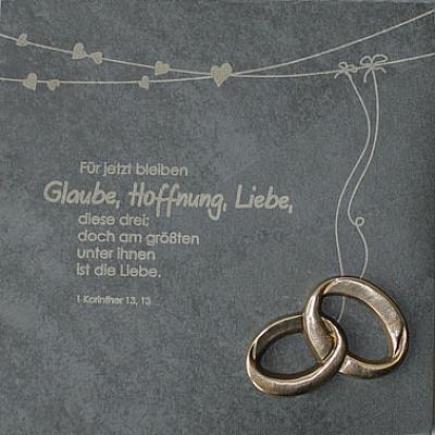 Hochzeitstafel 'Glaube, Liebe, Hoffnung', Schiefer