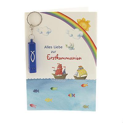 Glückwunschkarte 'Alles Liebe zur Erstkommunion' mit Taschenlampe