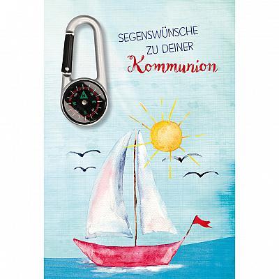 Glückwunschkarte zur Kommunion, Segler mit Kompass