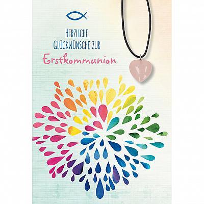 Glückwunschkarte zur Kommunion mit Herzanhänger aus Rosenquarz