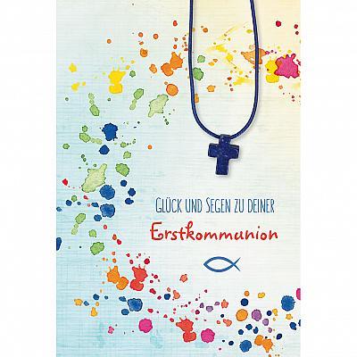 Glückwunschkarte zur Kommunion mit Kreuz aus Lapislazuli