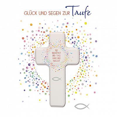 Glückwunschkarte zur Taufe mit Holzkreuz