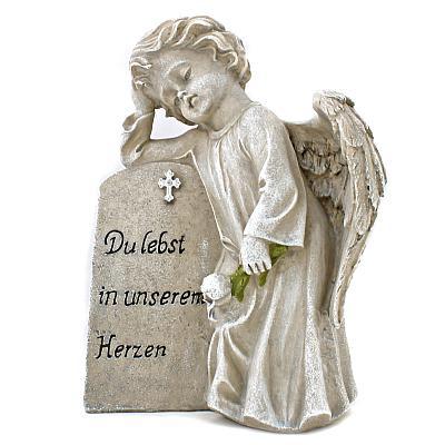 Grabschmuck Engel am Stein 'Du lebst in unserem Herzen'