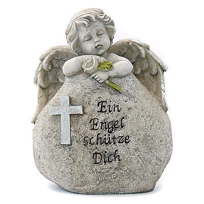 Grabschmuck 'Ein Engel schütze Dich', Engel am Stein lehnend