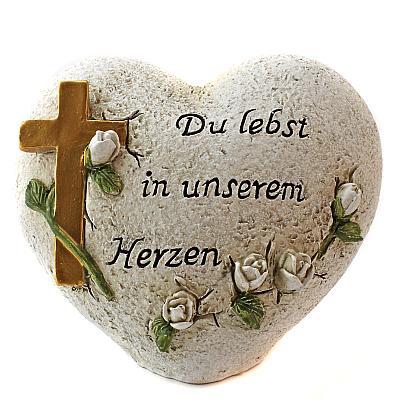 Grabschmuck 'Du lebst in unserem Herzen', Herz & Kreuz