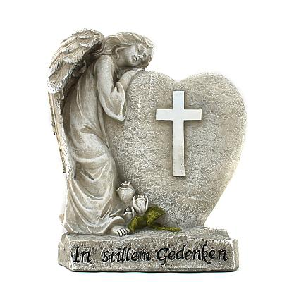 Grabschmuck trauernder Schutzengel an Herz mit Kreuz