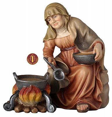 Großmutter am Lagerfeuer (Betlehem Krippe)