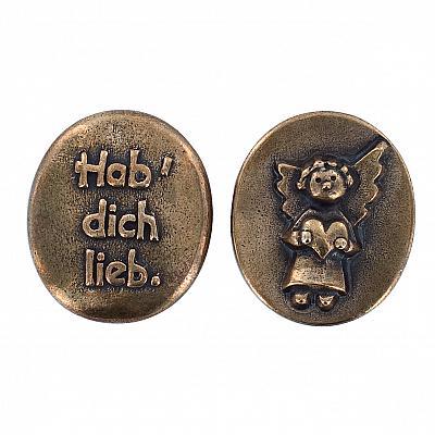Handschmeichler 'Schutzengel Hab dich lieb', Bronze