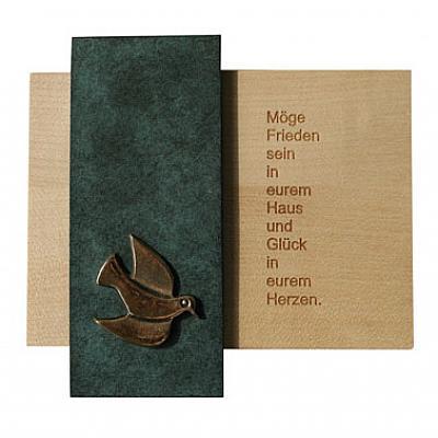Haussegen mit Taube aus Holz und Bronze
