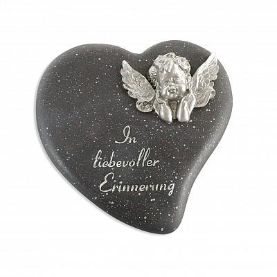 Grabschmuck 'In liebevoller Erinnerung' Herz mit Engel schwarz/silberfarben