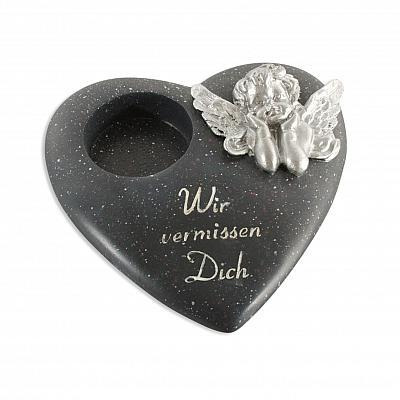 Grabschmuck Teelichthalter 'Wir vermissen Dich' Herz mit Engel, schwarz (schwarz mit Teelichthalter)