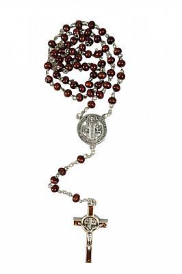 Rosenkranz Holz, braun mit Benediktuskreuz