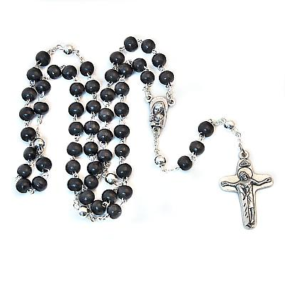Rosenkranz Holz schwarz, mit silbernen Vater Unser Perlen