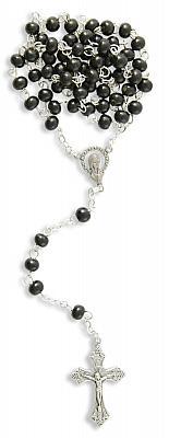 Rosenkranz aus Holz, schwarz ovale Perle