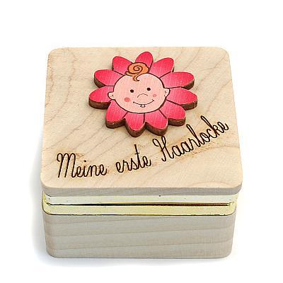 Holzdose für Haarlocke, rosa (Rosa)