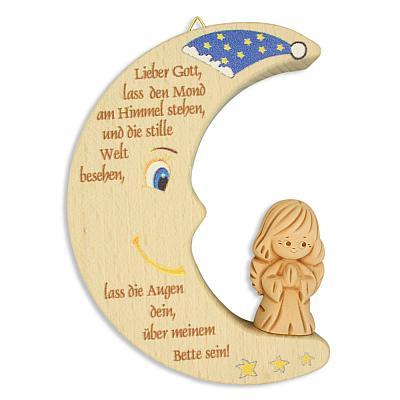 Holzelement Mond mit Tonengel 'Lieber Gott...'