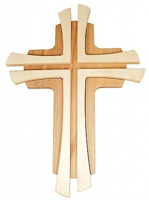 Holzkreuz aus Buche 'Kreuz auf Kreuz', 34 cm
