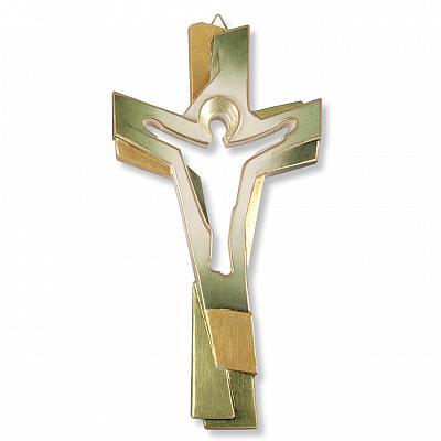 Kreuz Christus grün/goldfarben, Holz (grün/gold, 22 cm)
