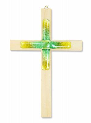 Holzkreuz Fichte mit Glaskreuz grün/gelb