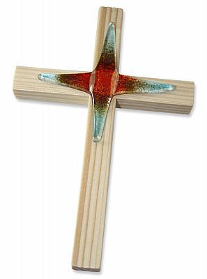 Holzkreuz Fichte mit Glaskreuz rot-blau