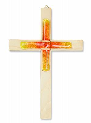 Holzkreuz Fichte mit Glaskreuz rot/orange