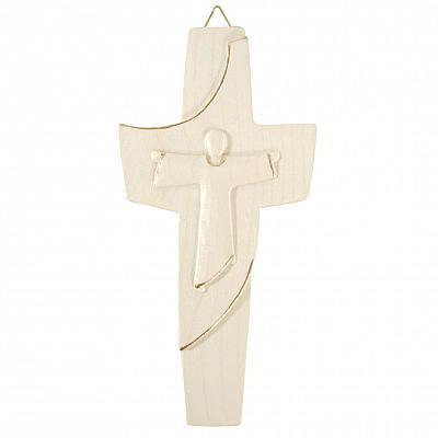 Holzkreuz 'Franziskus', natur mit Goldstrich (Natur mit Goldstrich)
