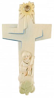 Holzkreuz 'Der Gute Hirte', geschnitzt