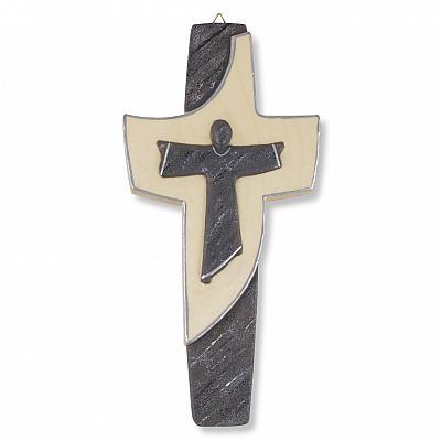 Holzkreuz 'Liebe Jesu', schwarz und silberfarben