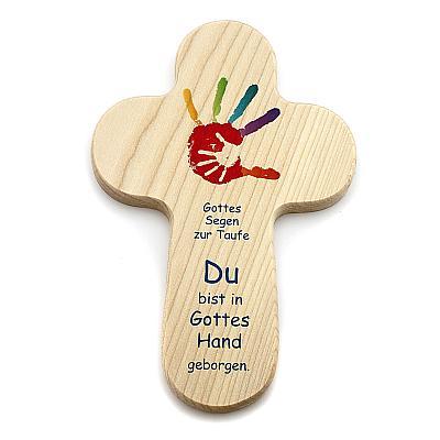 Kreuz zur Taufe 'Gottes beschützende Hand'