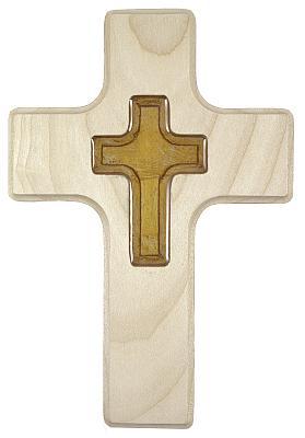 Holzkreuz, mit Glasauflage bernsteinfarben