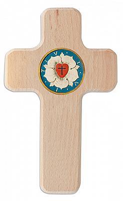 Holzkreuz 'Lutherrose', 500 Jahre Reformation