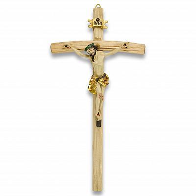 Alpen-Kruzifix aus Holz mit Korpus aus Polyresin