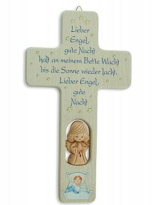 Holzkreuz mit Tonengel 'Lieber Engel gute...'