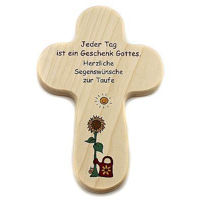 Kreuz zur Taufe 'Sonnenblume'