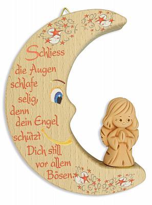 Holzmond mit Tonengel 'Schließ die Augen'