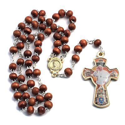 Rosenkranz 'Papst Franziskus', Holz braun