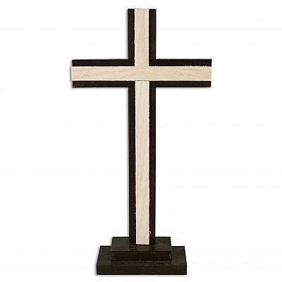 Holzstehkreuz schlicht, hell und dunkel