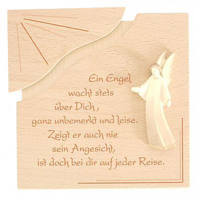 Holztafel 'Ein Engel wacht über Dich', Buche/Nuss