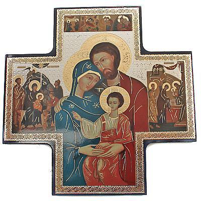 Ikonenkreuz Heilige Familie, 15 cm