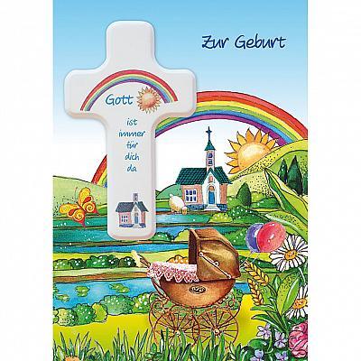 Glückwunschkarte mit Kreuz 'Regenbogen' zur Geburt