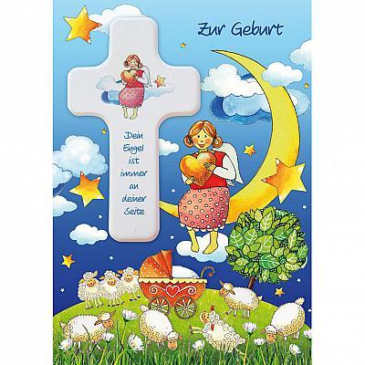 Glückwunschkarte mit Kreuz 'Schutzengel' zur Geburt