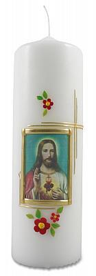 Kerze 'Herz-Jesu' mit Blumen (Herz Jesu)